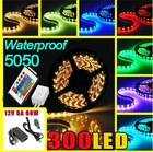 24 Key IR Remote/5M 300 LED 5050 SMD RGB Waterproof LED Light Strip Flexible