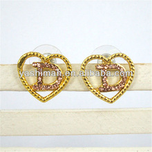 Newest Popular Trendy Hollow Out Gold Ear Stud Earring With LIght Pink Crystals Heart Shape And Letter Earring