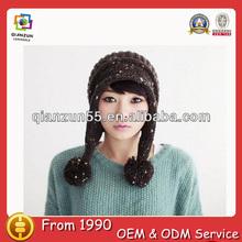 Wholesale mongolia girls winter hats pom pom 2013 fashion ear flap cute winter hats for women