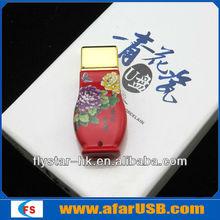 chinese style flower vase shape red ceramics usb sticks memory 8gb