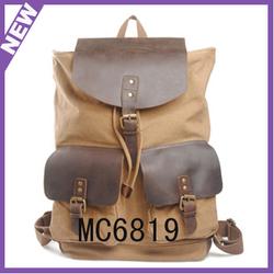 stylish canvas bag leather trim traveling rucksack