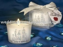 Frosted glass votive with sparkle castle design