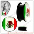 méxico bandera en forma de tornillo tapones para los oídos del túnel joyería piercing del cuerpo