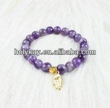 2014 newest amethyst crystal beads elastic bracelet,Hot crystal beads with hamsa charm bracelet,crystal beaded stretch bracelet
