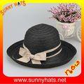 Negro 100% la trenza de papel de la mujer de verano sombrero para el sol 6 colores pequeña cantidad
