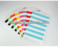 Large Grey and White Horizontal Striped Paper Treat Bags