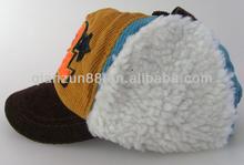 yellow corduroy winter baseall hat white fur children hat