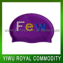 Durable Purple Custom Printed Swimming Caps