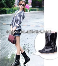 C20981A HOT-SELLING NEW ARRIVAL LADY PATENT LEATHER HIGH RAIN BOOTS