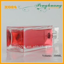 Square straight perfume pump container holding rose oil