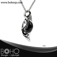 BOHO P055 agate pendant necklace, 361l stainless steel necklace, unique jewelry wholesale