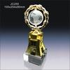 Unique design gold metal clock crystal glass globe trophy award JC255