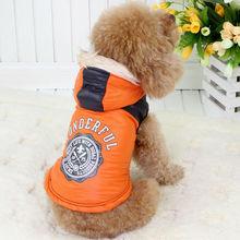 100% Polyester Fall/Winter Orange Jacket pet dog clothing
