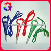 New design Plastic Pen With Bottle Opener Beer promotional bottle opener pen with lanyard