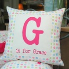 wholesale candy color design sublimation printing cushion cover alphabet throw pillow case