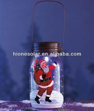 Solar Color Changing Santa Jar Table Top Holiday Decor