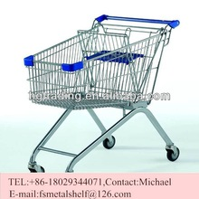90 liter shopping trolleys for sale zinc plated or powder coated