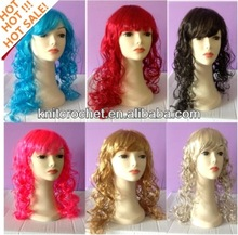 crazy color wigs,cheap fluorescent color party wigs, bright color party wigs