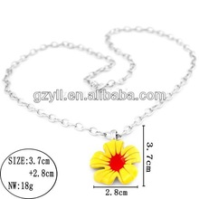 hula flower necklace/ long chain necklace