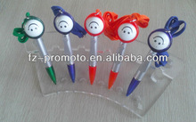 OEM gift plastic pen with round smile face and lanyard