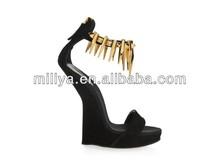 new deisgner no heel ladies sandals Newest design shoes sexy fashionable wedge sandals