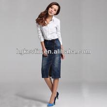Denim long skirt pattern fit latest wholesale comfortable midi skirt