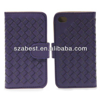 Hand knitting holster pu leather case for iphone4
