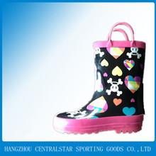 Heart and Skull Print Rubber Rain Boots 68013