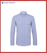 Azul único botão manguito para baixo MEN CASUAL camisa
