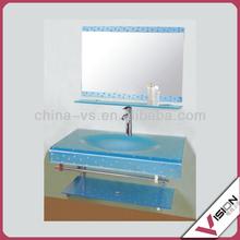 2013 popular pure white non-porous crystallized glass sinks bathroom
