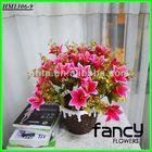 home&wedding decoration,7 heads pink artificial bulk silk lily flowers