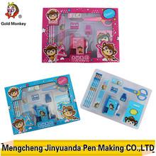 pencil box sharpner and ruler rubber, stamp stationery for kids