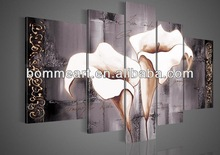 hand-painted oil wall art Brown lily fashion flower home decoration abstract Landscape oil painting on canvas 5pcs/set mixorde