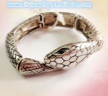 (KB-7518) lastest unique design alloy antique silver snake bracelet