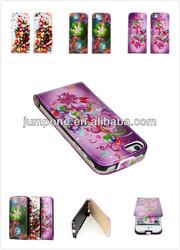 plain FLORAL FLOWER leather flip case For iphone 5 5s 5g