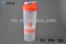 18OZ Plastic Sports Protein Nutrition Shaker Blender Drinking Bottle (SHK-007)