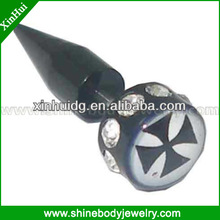 Black Acrylic Fake ear Piercing with logo and gem