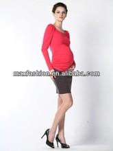 Cotton elastic long sleeve pregnant women blouses