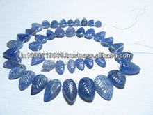 8 inches - Gorgeous - Very Rare Natural Blue - TANZANITE - Smooth Polished Carving Leaf huge size - 5x8 - 9x14 mm approx 41 pcs