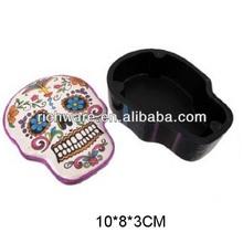Hot sale halloween ceramic skull sugar box jewelry box