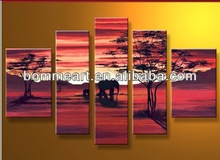 Wall art High Q elephants in sunset glow hand-painted decorative group oil painting