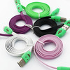 Colorful Noodle flat micro USB data charger cable for Samsung & htc & Moto green