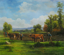 landscape wall decoration handmade milch cow walls painting