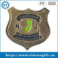 2013 new item of custom souvenir blank shield brass metal coin