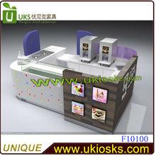 2013 up-to-date styling ice cream kiosk,bubble tea island kiosk, yogurt kiosk design sale in shopping mall with your logo