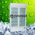 promocional 1200l doble puerta del refrigerador pequeño refrigerador comercial para la bebida