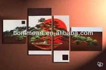 Home decoration wall art red sun and pine tree pure hand painted wall art group painting set group landscape CJX2013080