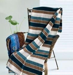 100% Polyester white and brown stripe fleece throw blanket