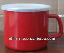 12cm red color enamelware mug with the PP lid