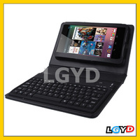 Good Qulity 2 in 1 Bluetooth 2.0 Silicone tablet Keyboard + Folding Leather Protective Case with Holder for Google Nexus 7